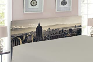 Ambesonne New York Headboard, Aerial View of NYC in Winter American Architecture Historical Popular Metropolis, Upholstered Decorative Metal Bed Headboard with Memory Foam, Queen Size, Beige Grey