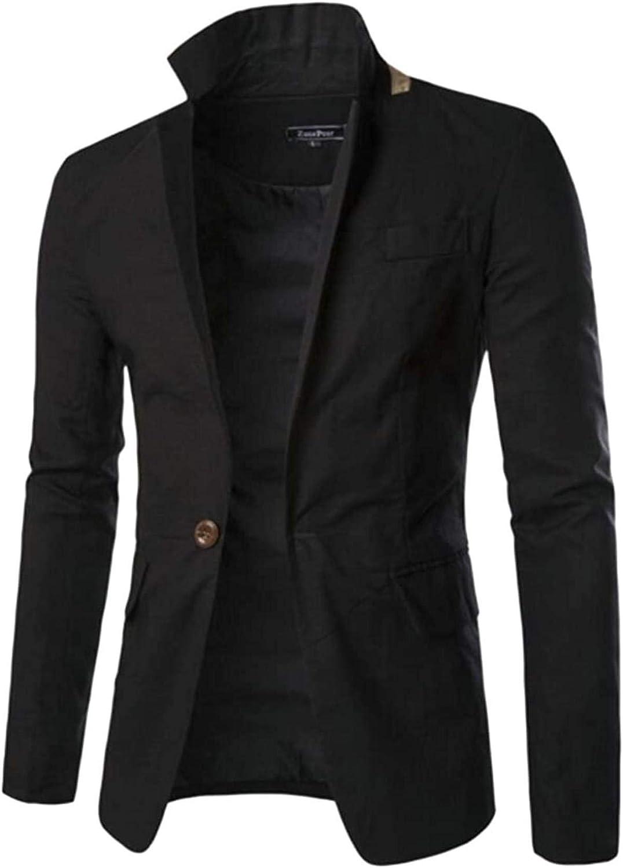 Men's Stand Collar Lightweight latest Linen Su Blazer Sports famous Button One