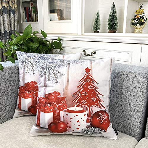 Booque Valley Christmas Pillow Covers, Pack of 2 Xmas Gift and Red Tree Holiday Cushion Covers, Hand Stitched Silver Bells on Velvet Fabric Decorative Pillows Cases, 18 x 18 Inch(Red)