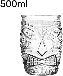 New Hawaiian Tiki Cup Cocktail Glass Beer Glass Red Wine Glass Glass Easter Islander Tiki Cup Bar Tool Drinking Insulation Ins Wine glass (Color : 500ml)