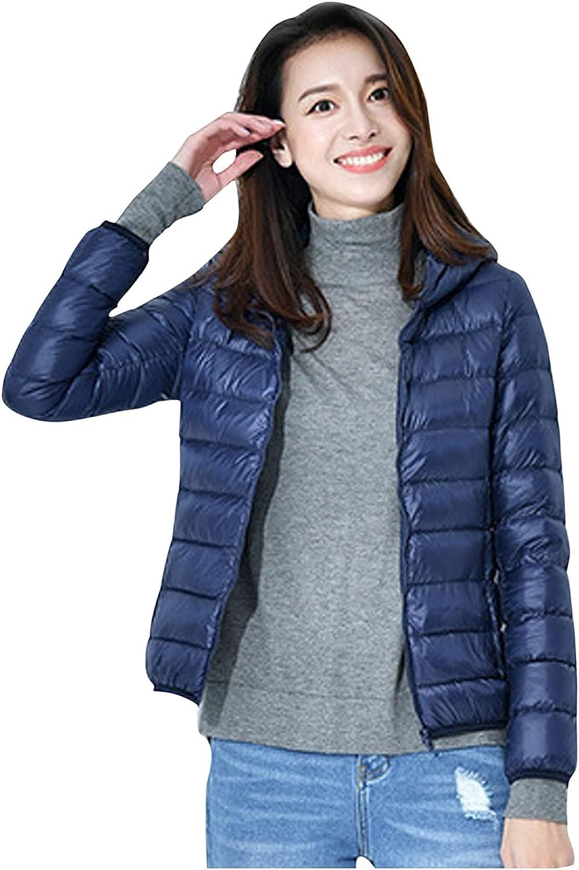 Rovga Women's Lightweight Packable Long-Sleeve Solid Down Puffer Jacket Coat Hooded Short Puffer Coats