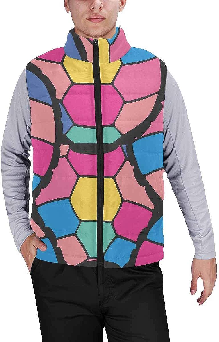 InterestPrint Warm Outdoor Sleeveless Stand Collar Vest for Men Stylized Turtle Shells in Cartoon Style XXL