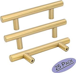 Goldenwarm 25pcs Brushed Brass Kitchen Cabinet Hardware Handle 1/2