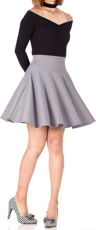 Dani's Choice Breathtaking High Waist A-line Circle Full Flared Skater Mini Skirt