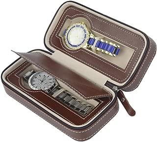 ROSENICE Zippered Watch Storage Box Watch Holder Organizer Dual Wristwatch Protector Travel Case (Brown)