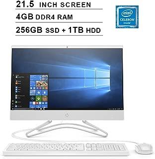 2019 HP Pavilion All-in-One 21.5 Inch FHD 1080P Desktop (Intel Celeron G4900T 2.9GHz, 4GB DDR4 RAM, 256GB SSD (Boot) + 1TB HDD, Intel UHD Graphics 610, WiFi, Bluetooth, HDMI, Windows 10) (White)