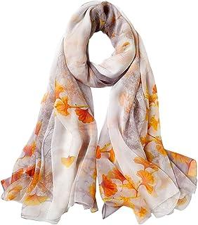 Bufanda de Seda Mujer 100% Seda Estampado Floral Colorido Gran Bufanda Mantón Ultraligero Transpirable Elegante 175 * 110 CM