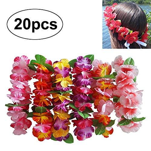 InnoBase Hawaiian Blumen Leis Stirnband Haarband Girlande Kopfstück Blumenketten Dekor Zubehör für Hochzeit Parteien Halloween Kopfschmuck Hawaii Strand Partei Bachelor Party
