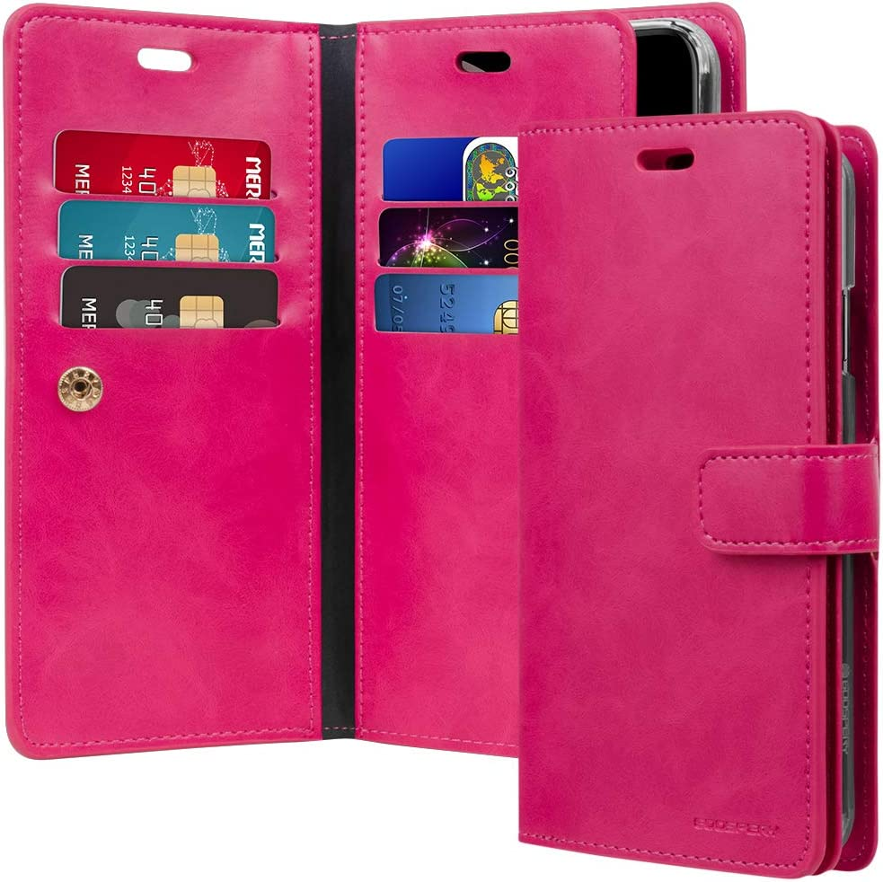 Goospery Mansoor Wallet for Apple iPhone Xs Max Case (2018) Double Sided Card Holder Flip Cover (Hot Pink) IPXSMAX-Man-HPNK