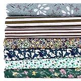 Hanxin Green Series 7pcs / Set Bundles de Tela Flor de algodón Impresa Patchwork Tela de Costura 50x50cm
