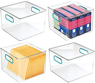 "mDesign Plastic Home, Office Storage Organizer Container with Handles for Cabinets, Drawers, Desks, Workspace - BPA Free - for Pens, Pencils, Highlighters, Notebooks - 8"" Wide Pack of 4 Clear/Blue"