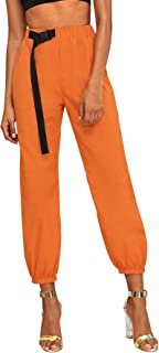Women's Casual Plain Mid Wasit Utility Cargo Pants Jogger Pants with Belt