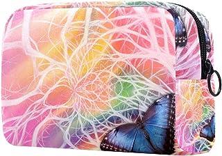 Blue Butterfly Makeup Bag Toiletry Bag for Women Skincare Cosmetic Handy Pouch Zipper Handbag
