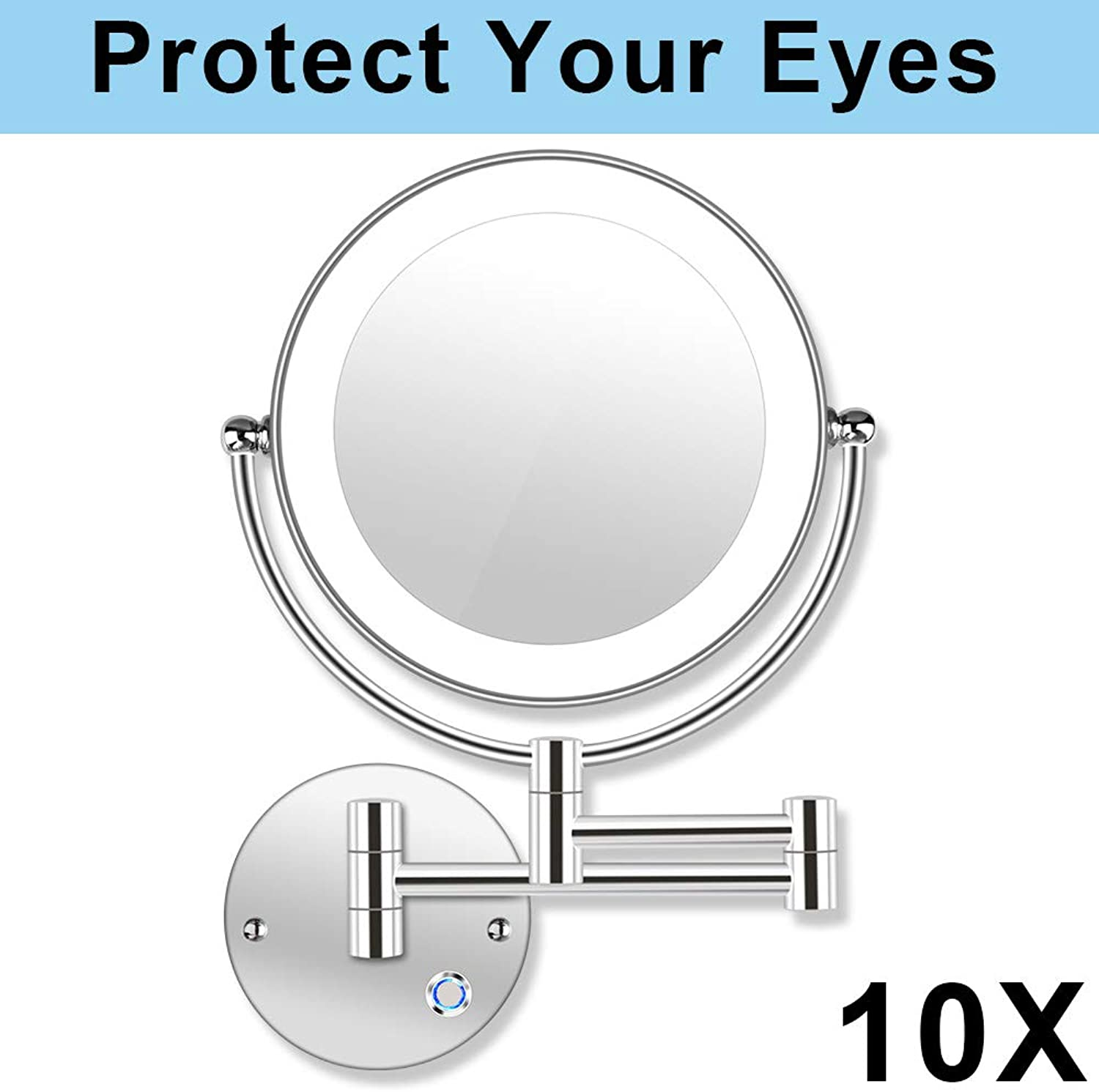 AmnoAmno 8.5  LED Double Sided Swivel Wall Mount Vanity mirror-10x Magnification,13.7  Extension,Touch Button Adjustable Light,Chromium,Shaving in Bedroom or Bathroom (8.5 Inch)