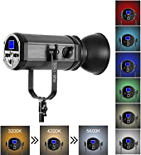 GVM 150W RGB Video Lights with Bowens Mount, Dimmable Bi-Color/Full Color Output 3200K-5600K 22000LUX LED Continuous Photography Light Kit for YouTube Studio Boardcast TV Interview, CRI 95+