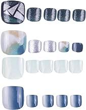 SIUSIO SIUSIO 96Pcs Colorful Fake Toe Nails Full Cover UV Top Coat Covered False Gel Nails Foot Art Tips Sets (Sea Blue Sky Series)