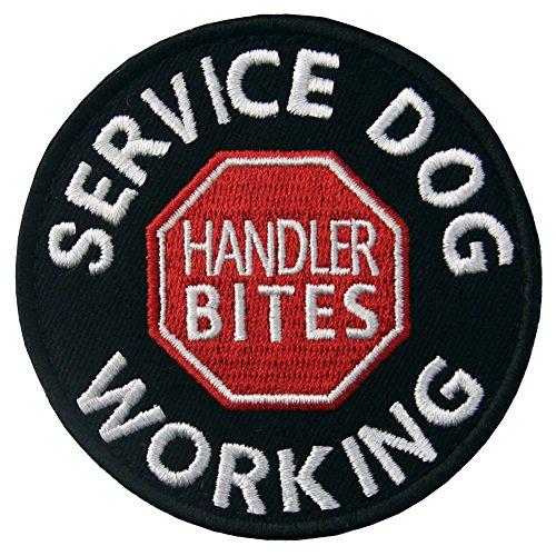 Service Dog Working Handler Bites Vests/Harnesses Emblem Embroidered Fastener Hook & Loop Patch