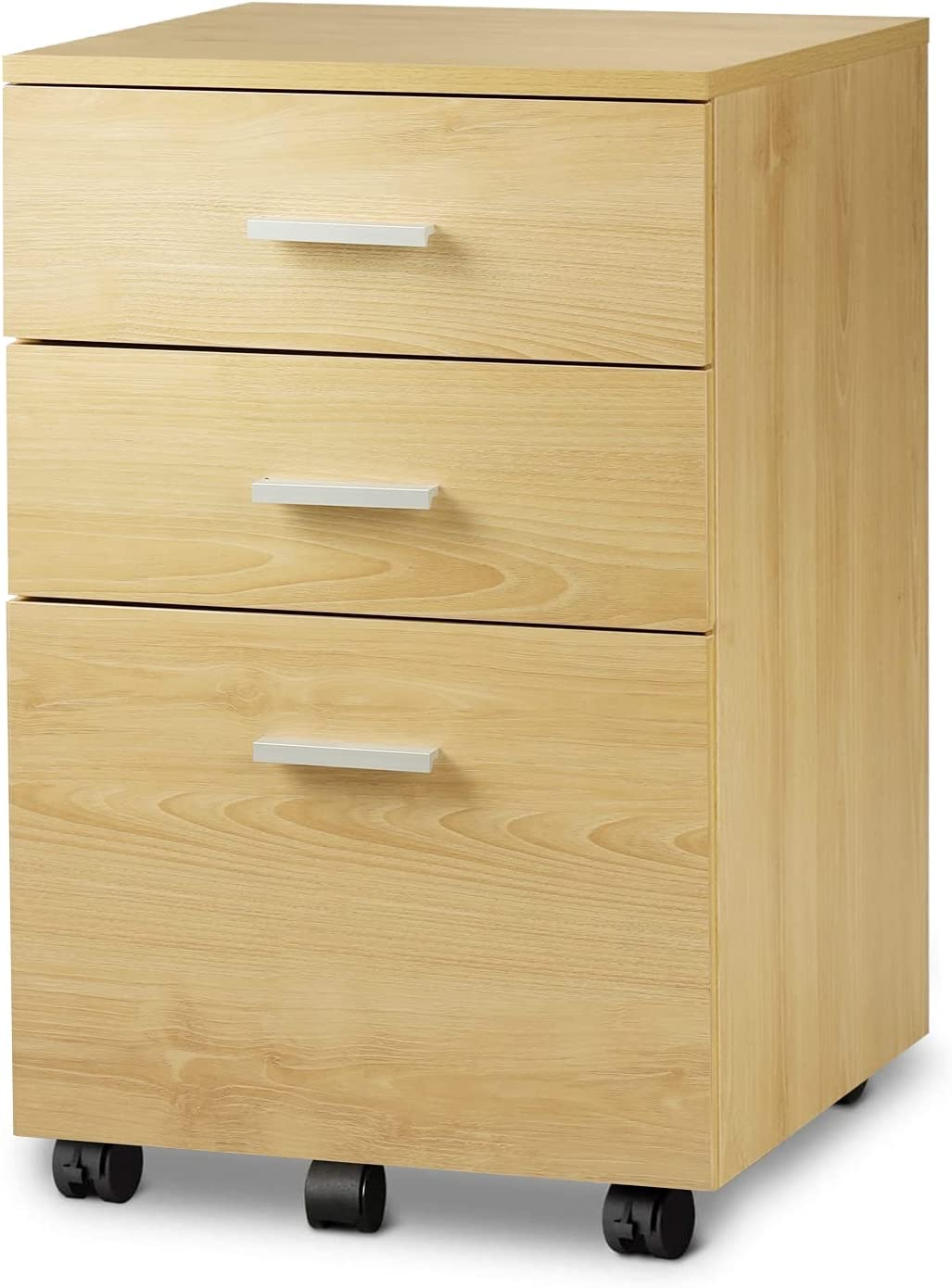 DEVAISE 3 Drawer Wood Mobile File Cabinet, Rolling Filing Cabinet for Letter/A4 Size, Oak