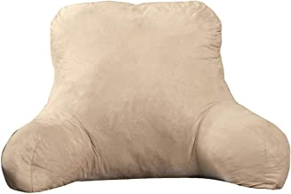 Backrest Pillow – Large Firmly Stuffed Sitting Support Bed Pillow with Arms for Comfort while Reading & Relaxing –Foam filled for Adults, Teens and Kids - Beige