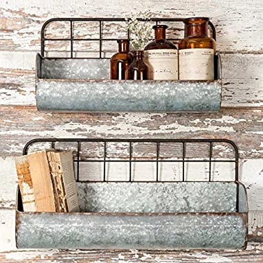 Set of Two-Decorative Wire Back Wall Shelves-Industrial