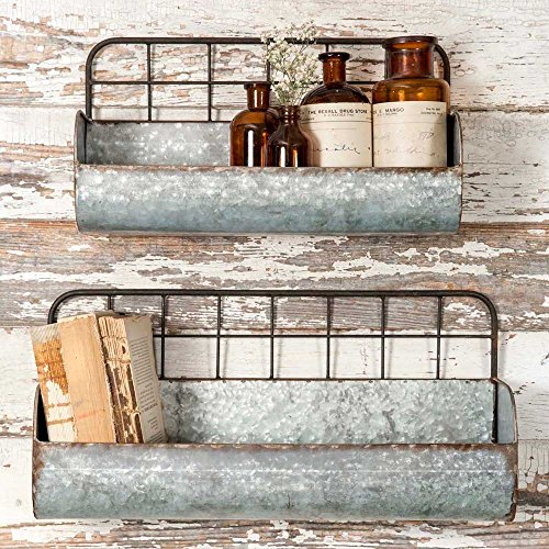 Colonial Tin Works Set of Two-Decorative Wire Back Wall Shelves-Industrial, Rustic Grey/Rust