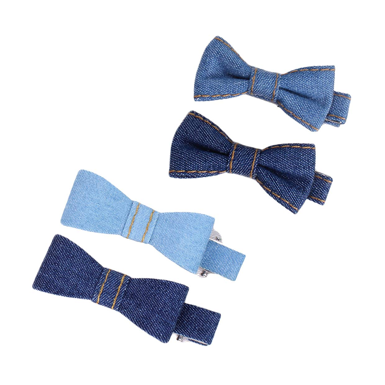 Baby Denim HairClips Bow Blue Jeans with Tiny Hair BowKnot Girls Hairpins JW021 (4 Pcs-Set E)