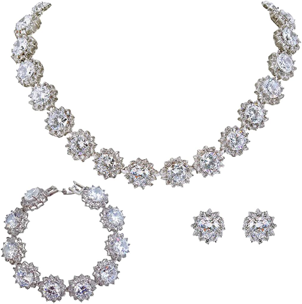 EVER FAITH Wedding Round Pave CZ Star Inspired Jewelry Set - Necklace Earrings Bracelet