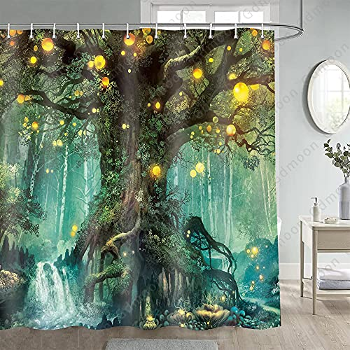 Gdmoon Fairy Tale Forest Shower Curtain Magic Tree Lanterns River Dream Tree of Life Fantasy Waterfalls Colorful Plants Natural Landscape Fabric Bathroom Curtain Set 72X72In YLLMGD873