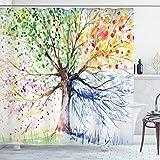 ABAKUHAUS Duschvorhang, Baum des Lebens Three of Life Bunter Baum Jahreszeiten Muster Farbenvoll Bunt Lebhaftes Druck, Blickdicht aus Stoff inkl. 12 Ringen Umweltfre&lich Waschbar, 175 X 200 cm