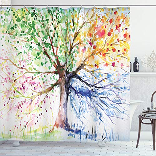 Ambesonne Tree Shower Curtain, Watercolor Style Tree with Colorful Blooming Branches 4 Seasons Theme, Cloth Fabric Bathroom Decor Set with Hooks, 75' Long, White Green