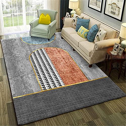 La alfombras alfombras Juveniles para Dormitorio Suave y Confortable Alfombra de diseño geométrico Rojo Gris Negro Durable Decoracion Pasillo Alfombra Salon Pelo Corto 180X250CM