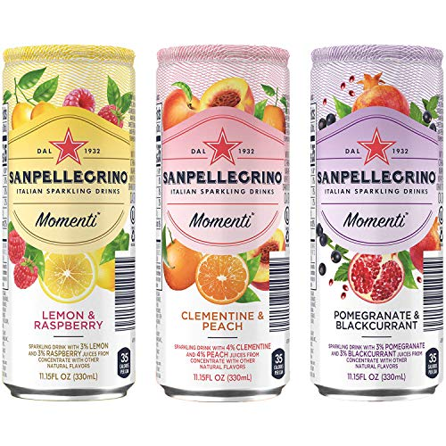 San Pellegrino Momenti, Clementine & Peach, Lemon & Raspberry, Pomegranate & Blackcurrant - Variety Pack, 11.15 Fl Oz Tall Can (12-Pack Variety, Total of 133.8 Fl Oz)