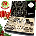 HOBO Silverware Set,24-Piece Stainless Steel Flatware Sets High-grade Mirror Polishing Cutlery Sets,Multipurpose Use for Home,Kitchen,Restaurant Tableware Utensil Sets with Gift Box Service Set