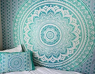 Exclusive Black and White & Gray Ombre Tapestry by JaipurHandloom Mandala Tapestry, Queen, Multi Color Indian Mandala Wall Art Hippie Wall Hanging Bohemian (Green Teal)