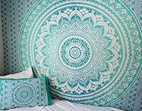Jaipur Handloom Turquoise Green Tapestry Twin Green Ombre Tapestry Teal Aqua Hippie Wall Tapestries Ombre Bedding Dorm Decor Mandala Tapestry Indian Mandala Wall Art Bohemian Bedspread