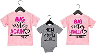 Personalized Big Sister Again Big Sister Finally and New to the Crew Matching Sibling Shirts