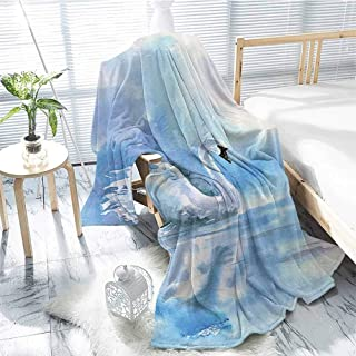 jecycleus Animal Decor Children`s Blanket Watercolor Drawing Picture of A Swan in The River Hazy Color Aqua Concept Picture Print Lightweight Soft Warm and Comfortable W80 x L60 Inch Blue White