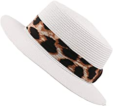 Ladies Summer Straw Sun Hat Womens Leopard Visor Cap Panama Hawaii Beach UV Protection Hat Breathable Narrow Brim Outdoor Hiking Visor Hat