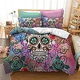 Sugar Skull Bedding Comforter Cover Sets Decor Bedding Sugar Skull Teen Girl Bones Skeleton Roses Floral Print Soft Bedding Sets 3PC Queen Size(Queen)