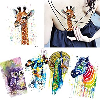 5 Sheets Sexy Temporary Tattoo Sticker Body Arm Art Watercolor Paint Catnoon Owl Peacock
