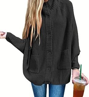 Women Button with Pocket Long Sleeve Half Turtleneck Outwear Overcoats Cardigan
