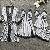 XYZMDJ Pijamas Para Mujer Ropa De Hogar Seda Sexy Encaje Pijamas Satin Sleepwear Ropa De Homewear Verano Con Pecho (Color : Gray, Size : L code)