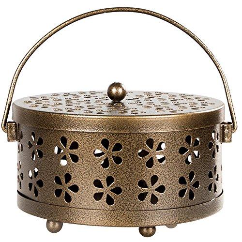 G-wukeer Boîte de Bobine de Moustique, Porte-encens de Conception Creuse Florale en métal, Portable, Anti-brûlure, 165X85mm