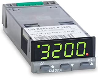 CAL Controls 320000 CAL 3200 Series 1/32 DIN Temperature Controller, 100 to 240 VAC, SSR Driver and Relay Outputs, Green LED