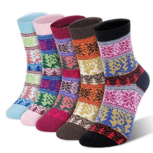 RenFox Calcetines cálidos de invierno para damas,calcetines de algodón para damas, calcetines con patrón de árbol de Navidad, regalos navideños para damas. Tallas europeas 37-42. Morado, rosa, etc.