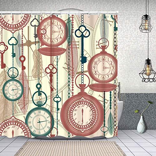 MAYUES Cortina de Ducha Impermeable Vintage de Patrones sin Fisuras Relojes Plumas Llaves Cortinas baño con Ganchos Lavable a Máquina 72x72 Inch