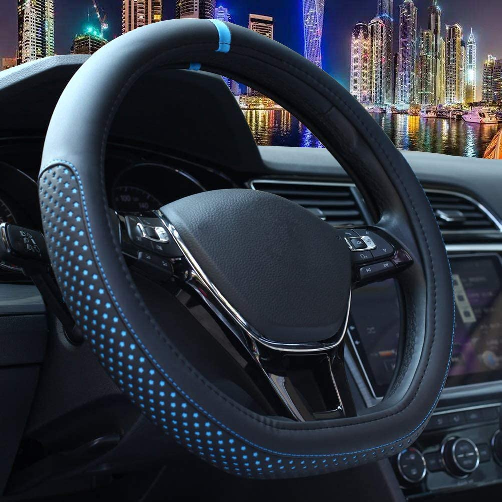 Shallow Black Flat Bottom Steering Wheel Accessories Sports Pu Leather D Cut Female Male Universal 15 Inch Breathable Massage Non Slip Design For Better Grip 120D Black D Shaped Steering Wheel Cover