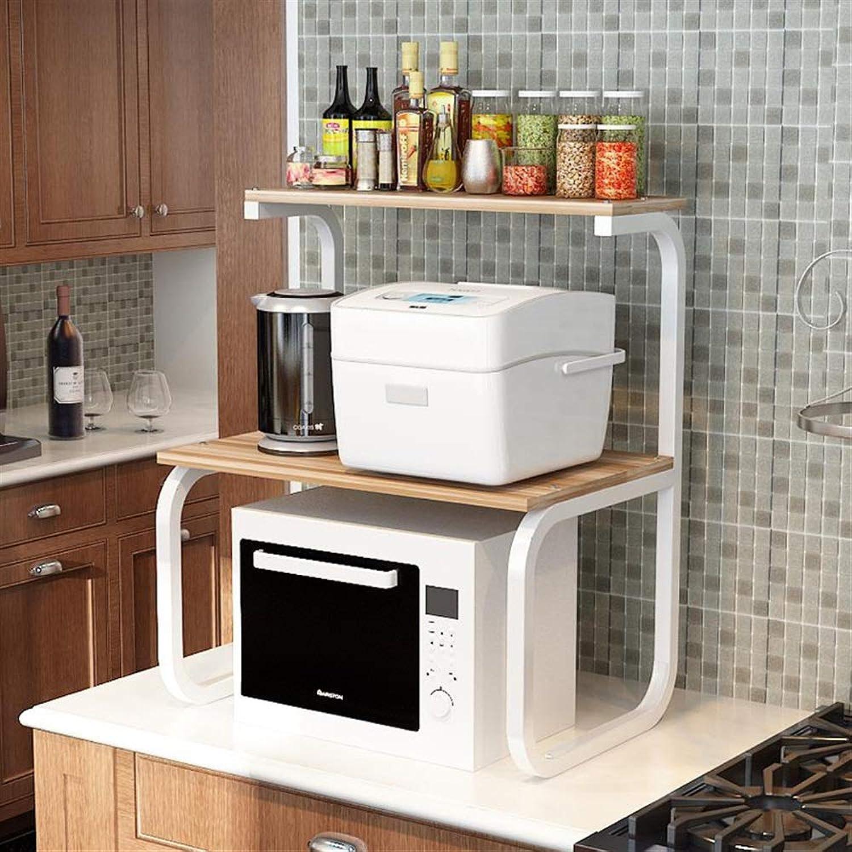 YChoice Rack Decor Kitchen Supplies Rack Storage Rack Microwave Oven Oven Rack Storage Rack Seasoning Rack Wood 3 Layers (color   Beige, Size   Black Frame)