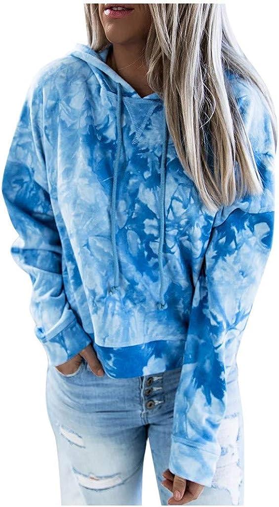 Large discharge sale F_topbu All items in the store Sweatshirts for Women Long Gradient Hoodies Sleeve Tie-