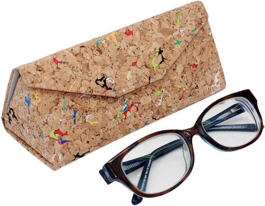 boshiho ECO-Friendly Natural Cork Sunglasses Box Foldable Triangle Sun Glasses Case Eyeglass Holder Case Jewelry Box Case (Multicolor)